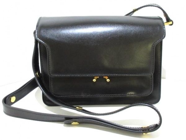 MARNI(マルニ) ショルダーバッグ美品  トランク 黒×ブルー カーフレザー