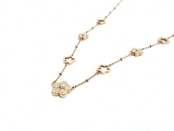 フォリフォリ ネックレス美品  金属素材×ジルコニア ピンクゴールド×クリア
