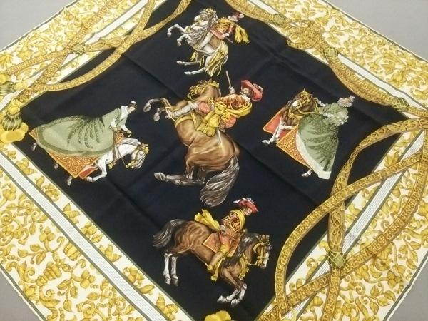 LOEWE(ロエベ) スカーフ美品  黒×ブラウン×ゴールド