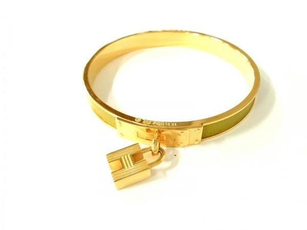 エルメス バングル美品  ケリーバングル 金属素材×レザー ゴールド×グリーン