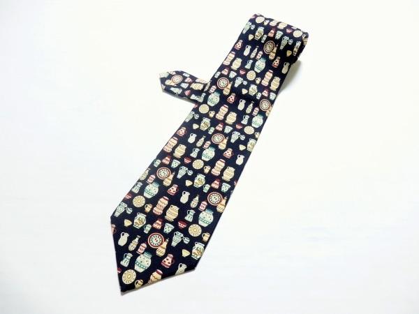 LOEWE(ロエベ) ネクタイ メンズ 黒×アイボリー×マルチ 食器柄