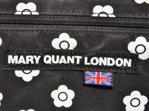 MARY QUANT(マリークワント) ボストンバッグ 黒×白 フラワー/ラメ/LONDON
