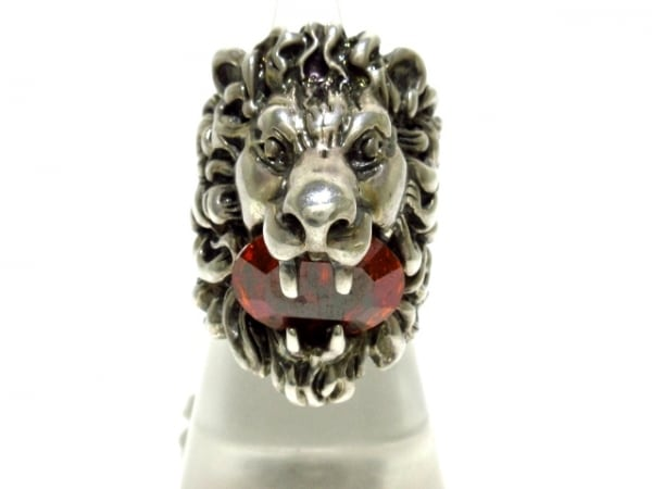 GUCCI(グッチ) リング 13美品  ライオンヘッド リング 金属素材×クリスタル
