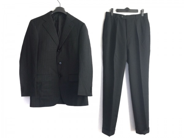 エディフィス シングルスーツ サイズ44 L メンズ美品  黒×ライトグレー ストライプ