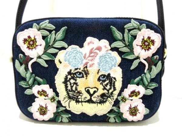 グッチ ショルダーバッグ - 456547 ネイビー×マルチ×黒 日本限定/刺繍/タイガー