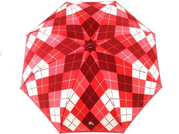 バーバリー 折りたたみ傘美品  レッド×アイボリー×マルチ チェック柄 化学繊維
