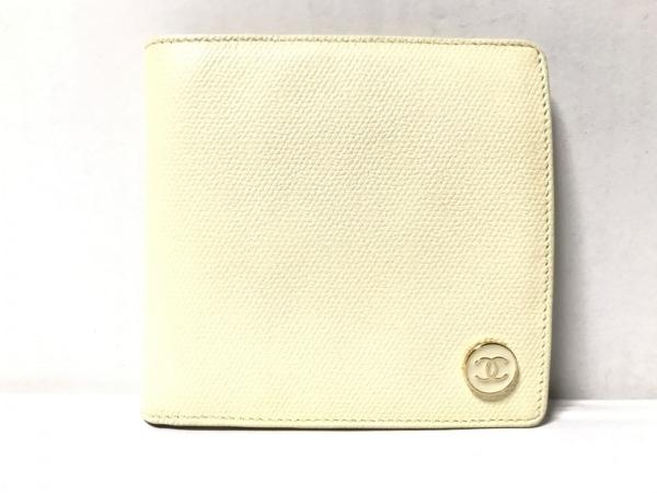 CHANEL(シャネル) 2つ折り財布 ココボタン アイボリー キャビアスキン