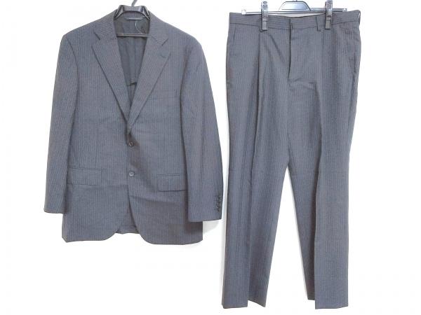 ダーバン シングルスーツ メンズ美品  ダークグレー×ライトブルー ストライプ