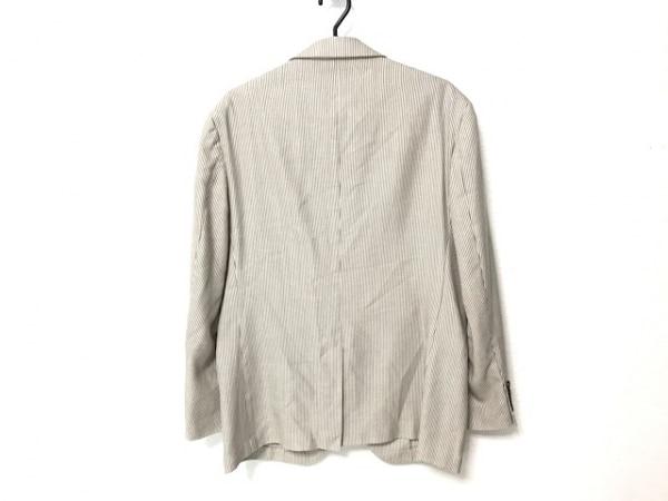 DURBAN(ダーバン) ジャケット メンズ 白×ダークグレー ストライプ/ネーム刺繍