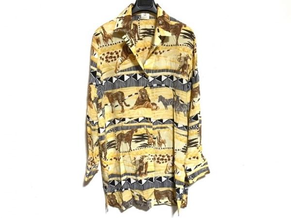エスカーダ 長袖シャツ サイズ36 S メンズ イエロー×ダークブラウン×黒×マルチ