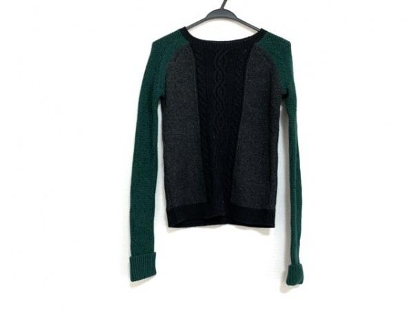theory(セオリー) 長袖セーター サイズS レディース美品  黒×ダークグレー×グリーン