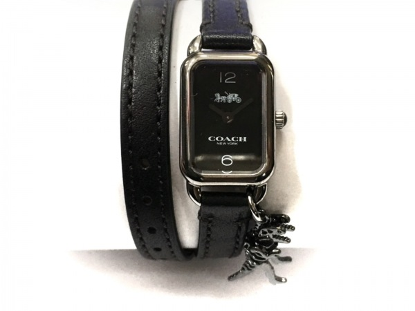 2連革ベルト 【中古】 レディース COACH CA.112.7.34.1407 シルバー 腕時計 (コーチ)
