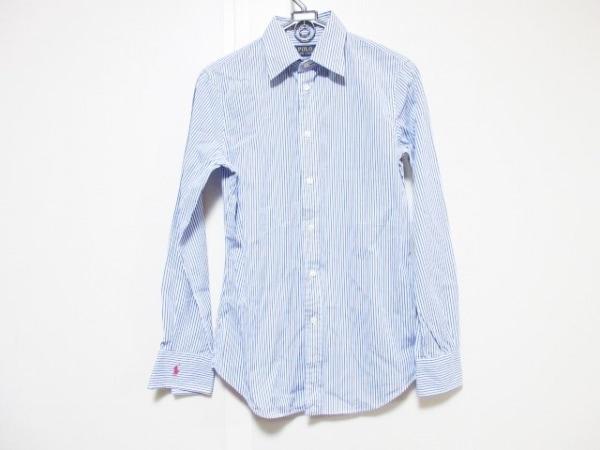 ポロラルフローレン 長袖シャツ サイズ4 XL メンズ 白×ブルー ストライプ