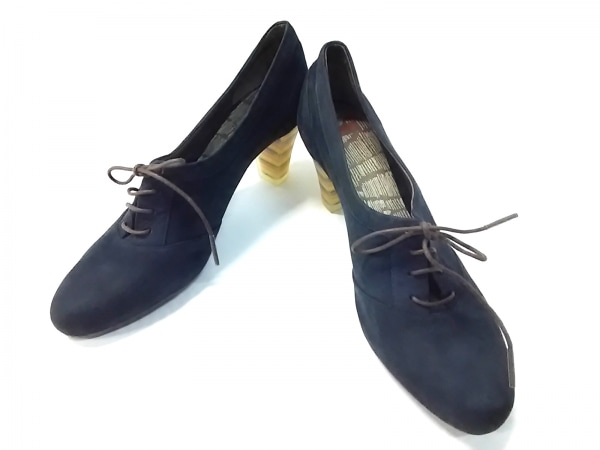 CAMPER(カンペール) 靴 37 レディース ネイビー×イエロー×マルチ レザー×化学繊維