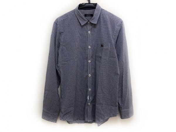 バーバリーブラックレーベル 長袖シャツ サイズ3 L メンズ ダークネイビー×白