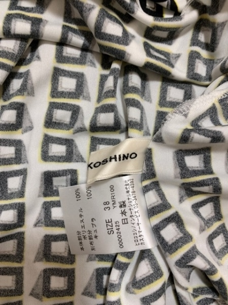 ヒロココシノ ワンピース サイズ38 M レディース美品  アイボリー×黒×マルチ