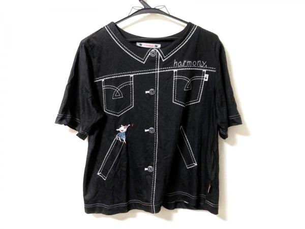 OLLEBOREBLA(アルベロベロ) 半袖カットソー レディース 黒×白×マルチ 刺繍/ブタ