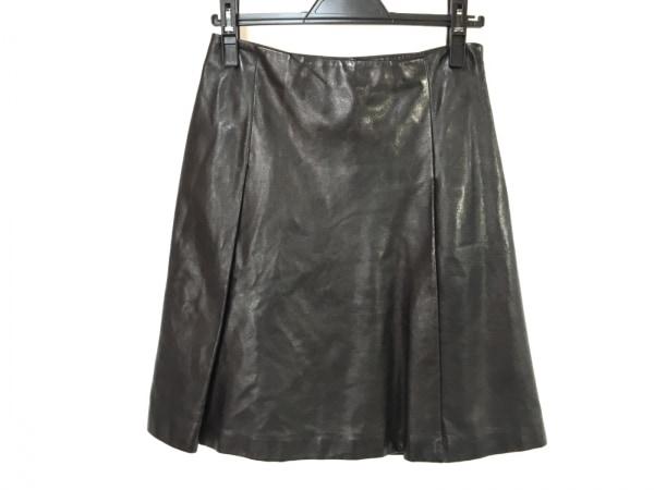ジルサンダー ミニスカート サイズ34 XS レディース美品  ダークブラウン レザー