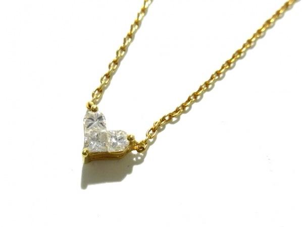 スタージュエリー ネックレス美品  K18YG×ダイヤモンド 0.15カラット/ハート