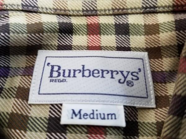 バーバリーズ 長袖シャツ サイズM メンズ美品  カーキ×レッド×マルチ チェック柄