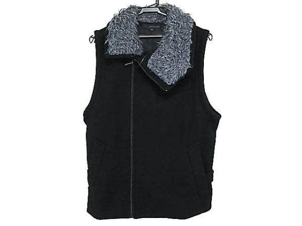 WOOYOUNGMI(ウーヨンミ) ベスト メンズ美品  黒×グレー ジップアップ/襟ボア