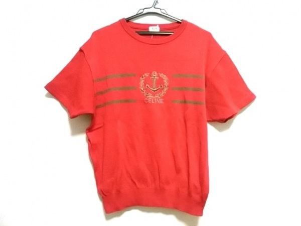 CELINE(セリーヌ) 半袖セーター メンズ レッド×カーキブラウン