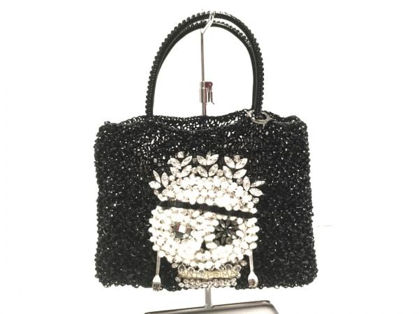 アンテプリマ トートバッグ美品  ワイヤーバッグ 黒×白×マルチ ビジュー/スカル