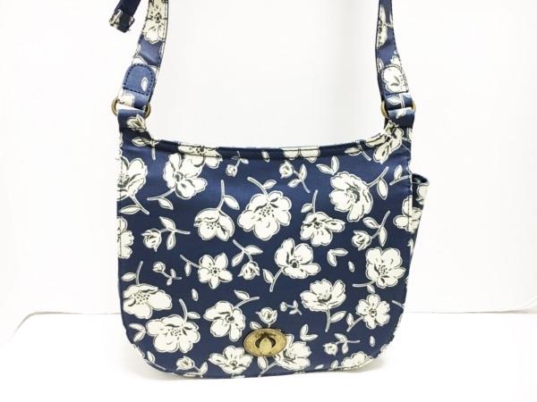 キャスキッドソン ショルダーバッグ - - ネイビー×アイボリー 花柄/斜めがけ