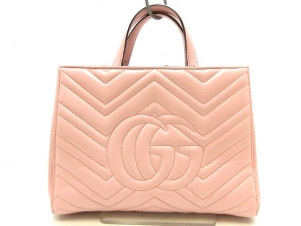 GUCCI(グッチ) ハンドバッグ GGマーモント 448054 ピンク レザー
