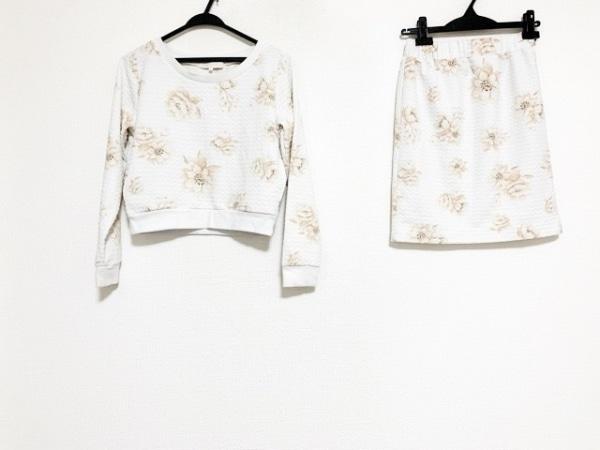 マーキュリーデュオ スカートセットアップ サイズF レディース 白×ピンク 花柄
