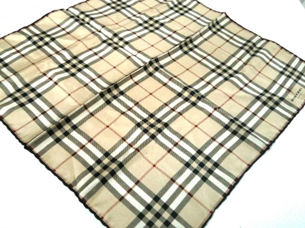 バーバリーロンドン スカーフ ベージュ×黒×レッド シルク/チェック柄