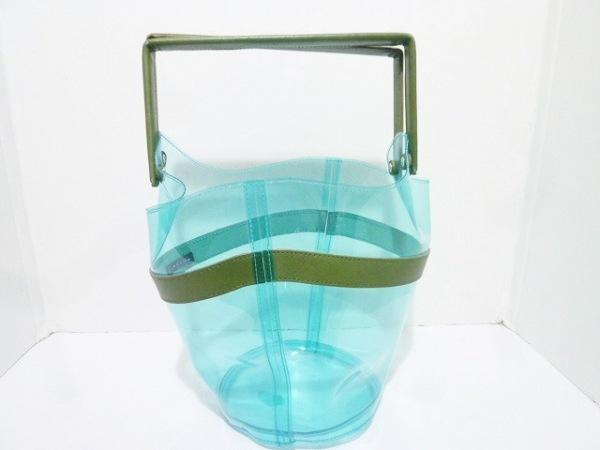 LUDLOW(ラドロー) ハンドバッグ ブルー×グリーン ビニール×レザー