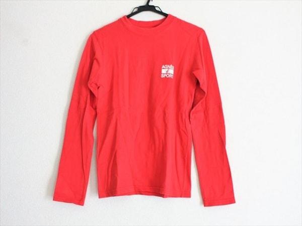 agnes b(アニエスベー) 長袖Tシャツ サイズXS レディース レッド×白 SPORT