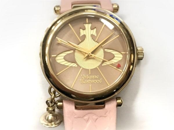 ヴィヴィアン 腕時計美品  VV006PKPK レディース 革ベルト ピンクベージュ