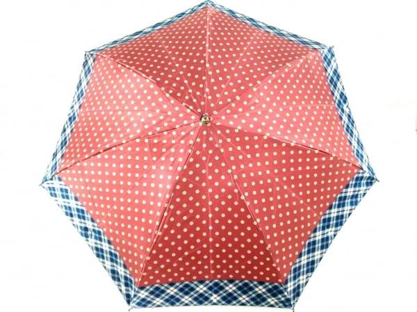 ニューヨーカー 折りたたみ傘美品  レッド×ネイビー×マルチ 花柄/チェック柄
