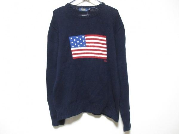 ポロラルフローレン 長袖セーター サイズM メンズ ダークネイビー×マルチ 星条旗