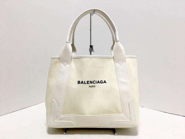 バレンシアガ トートバッグ ネイビーカバS 339933 アイボリー×白 キャンバス×レザー