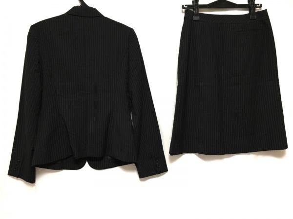 コムサイズム スカートスーツ レディース 黒×ライトグレー 3点セット/ストライプ