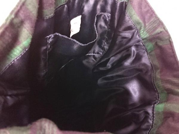 メゾンドフルール トートバッグ グリーン×黒×ダークネイビー リボン/チェック柄