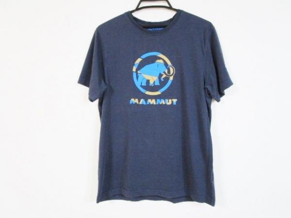 MAMMUT(マムート) 半袖Tシャツ サイズL(USA) メンズ ネイビー×ベージュ×ブルー