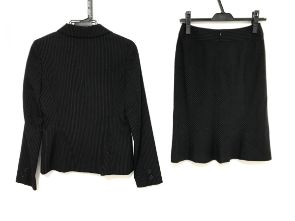 COMME CA ISM(コムサイズム) スカートスーツ サイズS レディース美品  黒×アイボリー
