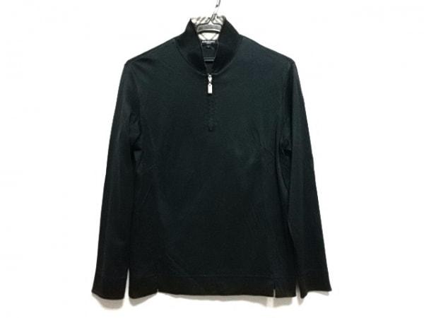 バーバリーゴルフ 長袖カットソー レディース 黒×ベージュ×マルチ チェック柄