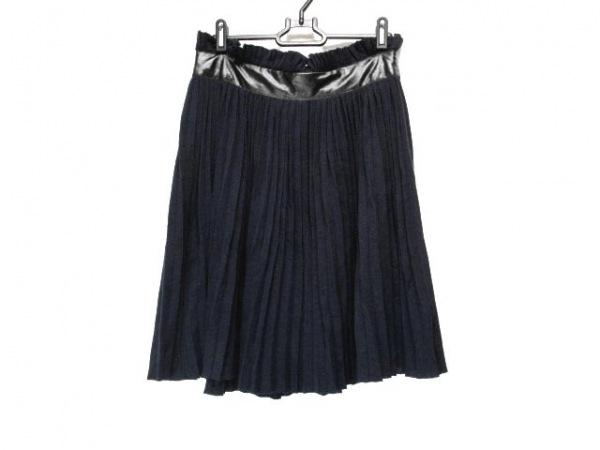 Sacai(サカイ) スカート サイズ1 S レディース ネイビー×黒 レザー/プリーツ