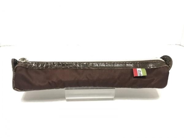 オロビアンコ ペンケース - - ダークブラウン 型押し加工 ナイロン×レザー