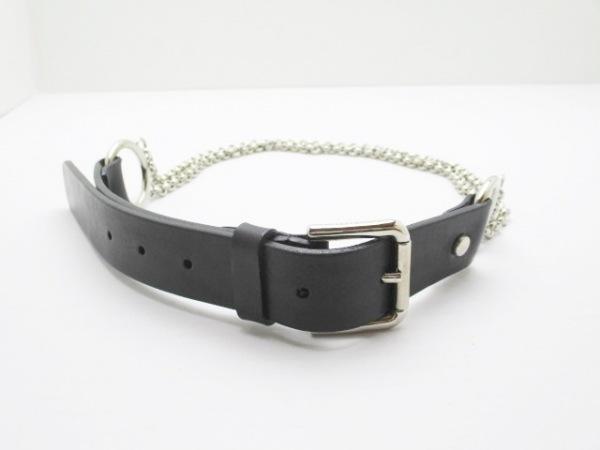 ドルチェアンドガッバーナ ベルト 38/80 黒×シルバー レザー×金属素材