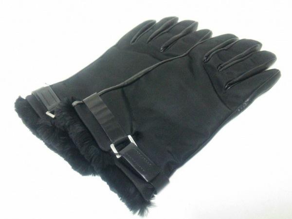 PRADA(プラダ) 手袋 7 1/2 レディース美品  黒 ナイロン×レザー