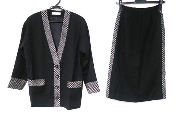 ユキコハナイ スカートスーツ サイズ9 M レディース美品  黒×ライトグレー