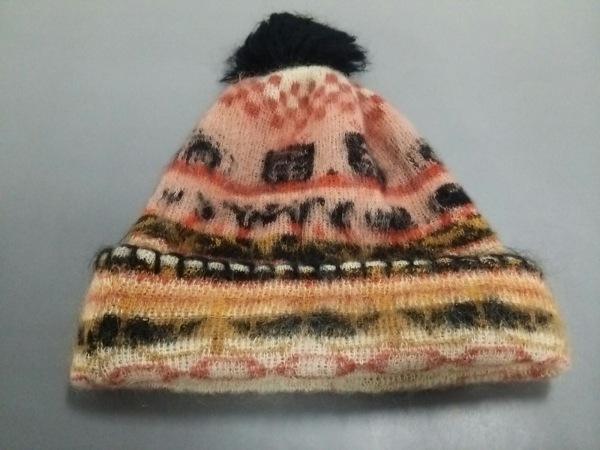 ヴィヴィアンウエストウッド ニット帽 黒×レッド×マルチ ウール×ナイロン