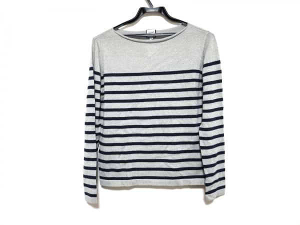 ゴルチエ 長袖セーター サイズ38 M レディース美品  グレー×ネイビー ボーダー/ラメ