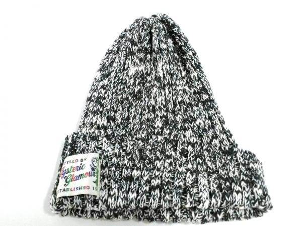 HYSTERIC GLAMOUR(ヒステリックグラマー) ニット帽 F 黒×白 麻×コットン
